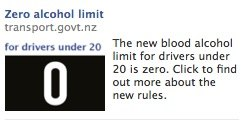 Zero alcohol limit Facebook ad