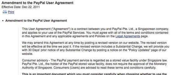 PayPal Policy amendment
