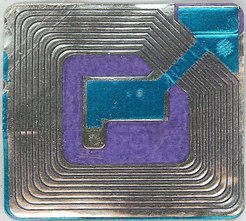 Blue and purple RFID tag