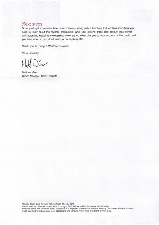 Westpac Hotpoints Letter