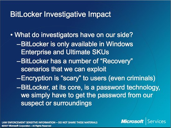 Microsoft Law Enforcement Bitlocker