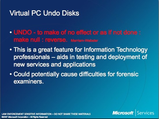 Microsoft Law Enforcement Virtual PC Undo Disks
