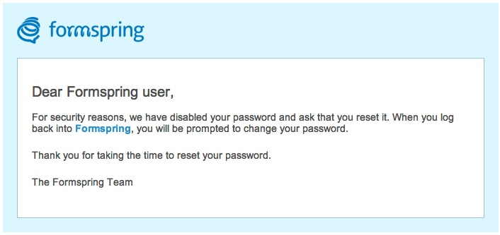 Formspring email - change your password